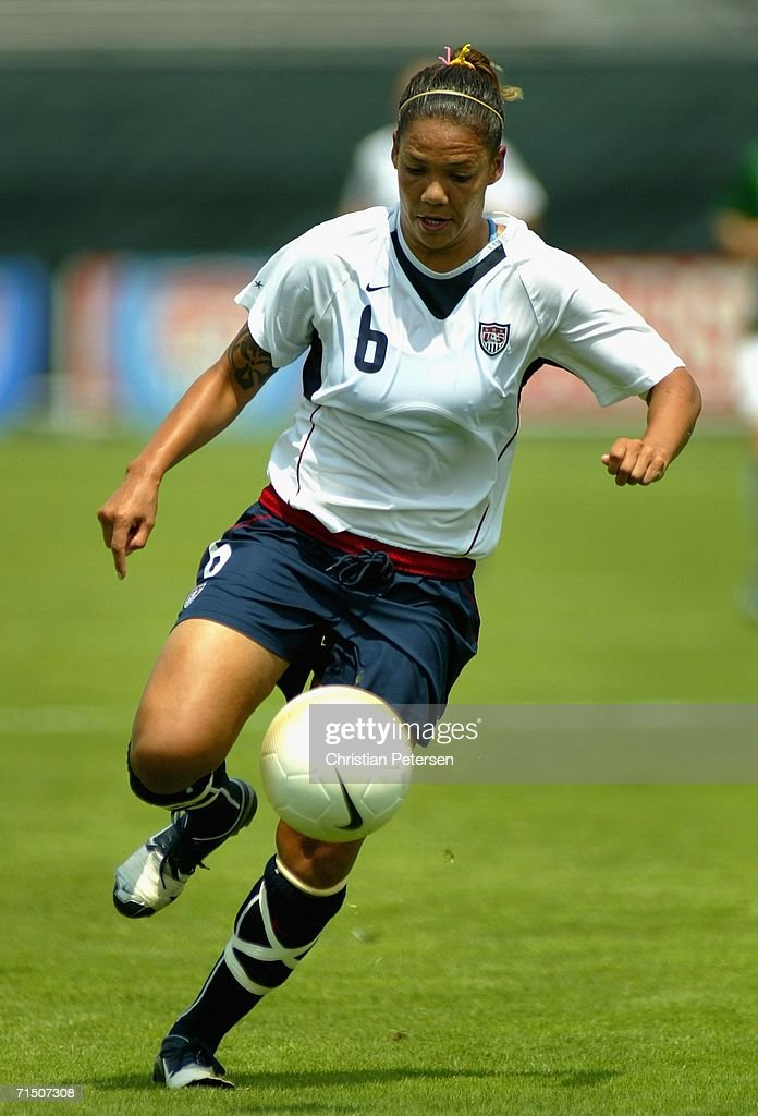 Natasha Kai of Team USA drives with the ball before scoring against Team Ireland during the international women's soccer game held on July 23 2006 at...