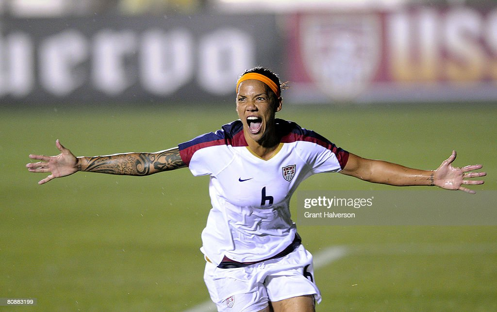 Natasha Kai of the US Women's National Team celebrates after scoring a goal against the Australian Women's National Team in the 36th minute of an...