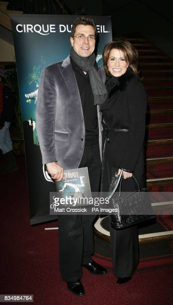 Natasha Kaplinsky and husband Justin Bower attend the first night of Cirque du Soleil's 'Quidam' at the Royal Albert Hall in west London