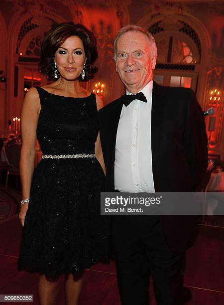 Natasha Kaplinsky and Lord Jeffrey Archer attend a drinks reception during the British Heart Foundation Roll Out The Red Ball at The Savoy Hotel on...
