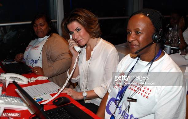 Natasha Kaplinsky answers the phones at the Philippines Disaster Emergency Committee appeal at the BT Tower London