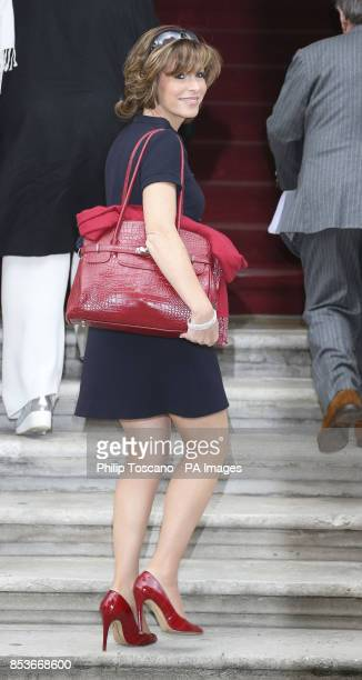 Natasha Kaplinsky arrives at the FCO building in central London for a reception for Britain's creative industries