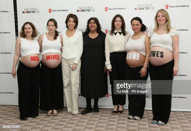 Natasha Kaplinsky Gurinder Chadha and Dervla Kirwan during the launch of Save The Children's 'Missing Midwives' report at the Royal College of...