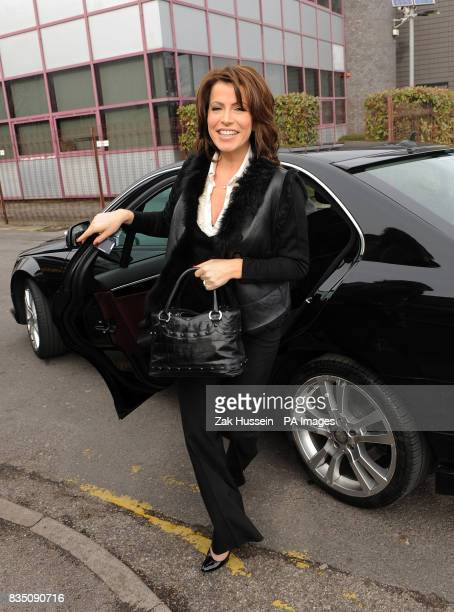 Natasha Kaplinsky returns to work at Five News in Isleworth Middlesex after six months maternity leave