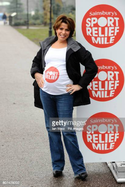 Natasha Kaplinsky takes part in a Bumps and Babies mile in aid of Sport Relief in Battersea Park London