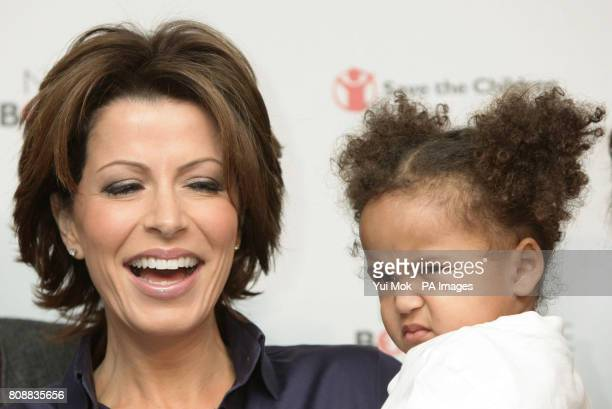 Natasha Kaplinsky with Iris aged 2 a child involved in the campaign during the launch of aid agency Save the Childrens No Child Born to Die campaign...