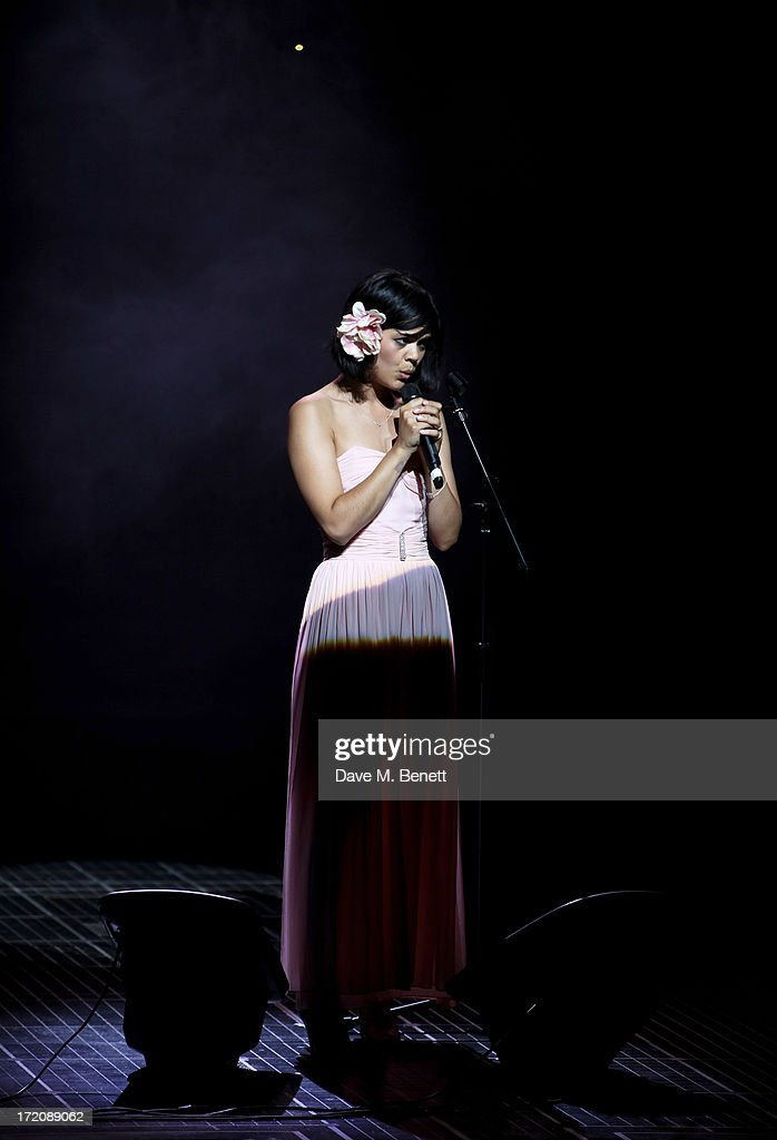 Natasha Khan of Bat For Lashes performs on stage at 'A Curious Night at the Theatre', a charity gala evening to raise funds for Ambitious about Autism and The National Autistic Society, at The Apollo Theatre on July 1, 2013 in London, England.
