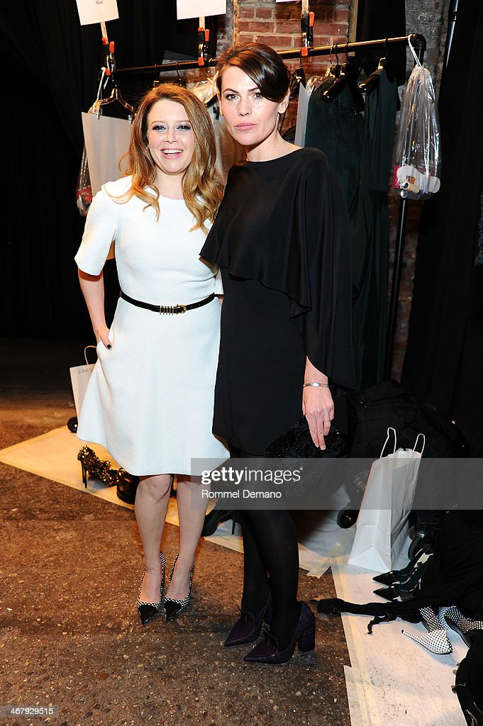 Natasha Lyonne and Clea DuVall attend the Christian Siriano fall 2014 fashion show at Eyebeam Studios on February 8 2014 in New York City