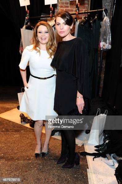 Natasha Lyonne and Clea DuVall attend the Christian Siriano fall 2014 fashion show at Eyebeam Studios on February 8 2014 in New York City