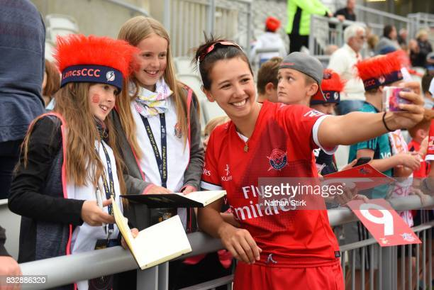 Natasha Miles of Lancashire Thunder takes a selfie during the Kia Super League 2017 match between Lancashire Thunder and Surrey Stars at Old Trafford...