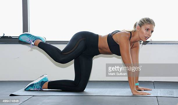 Natasha Oakley during her workout to promote Fitbit at North Bondi Surf Lifesaving Club on December 2 2015 in Sydney Australia