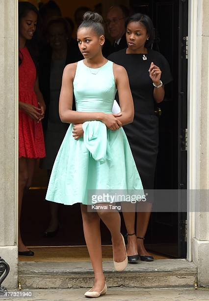 Natasha Obama departs after her visit of 10 Downing Street on June 16 2015 in London England