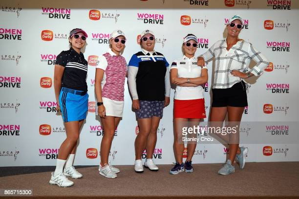 Natasha Oon of Malaysia Kelly Tan of Malaysia Shanshan Feng of China So Yeon Ryu of South Korea and Anna Nordqvist of Sweden pose with their pink...