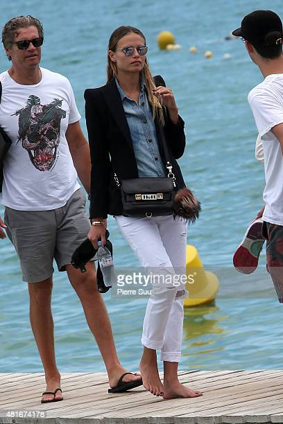 Natasha Poly arrives at club 55 on July 23 2015 in SaintTropez France