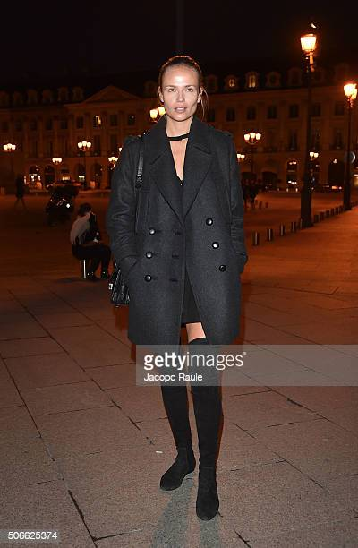 Natasha Poly arrives at the Versace fashion show as part of Paris Fashion Week Haute Couture Spring/Summer 2016 on January 24 2016 in Paris France