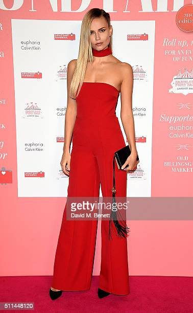Natasha Poly at The Naked Heart Foundation's Fabulous Fund Fair in London at Old Billingsgate Market on February 20 2016 in London England