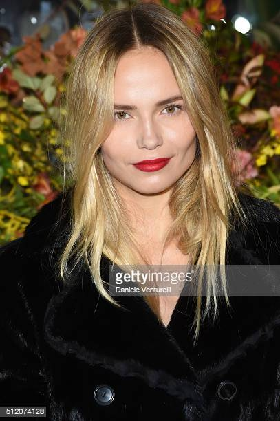 Natasha Poly attends the Roberto Cavalli show during Milan Fashion Week Fall/Winter 2016/17 on February 24 2016 in Milan Italy