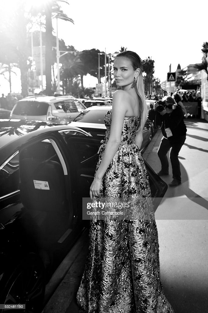 Natasha Poly departs the Martinez Hotel during the 69th annual Cannes Film Festival on May 17 2016 in Cannes France