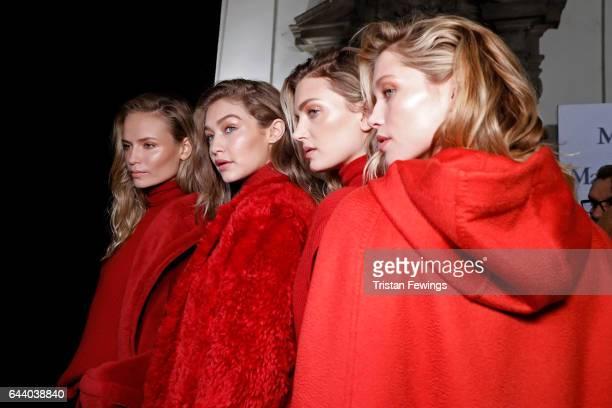 Natasha Poly Gigi Hadid Lily Donaldson and Hana Jirickova are seen backstage ahead of the Max Mara show during Milan Fashion Week Fall/Winter 2017/18...