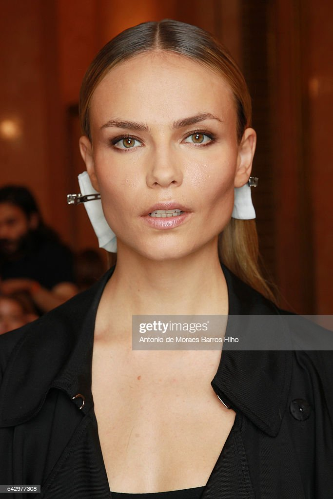 Natasha Poly poses backstage before the Balmain Menswear Spring/Summer 2017 show as part of Paris Fashion Week on June 25, 2016 in Paris, France.