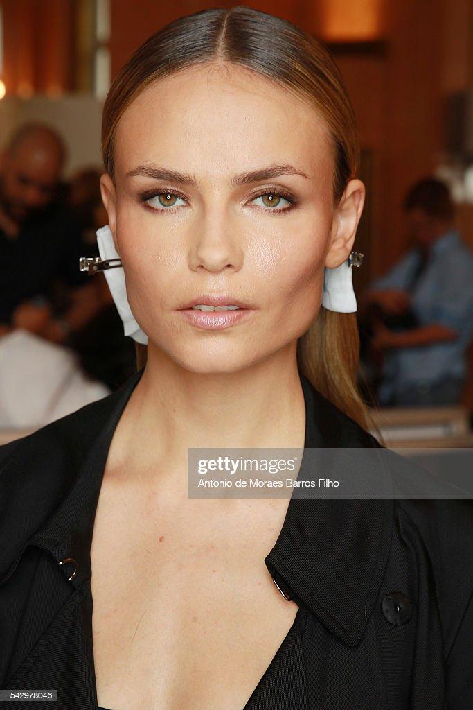 Natasha Poly poses backstage before the Balmain Menswear Spring/Summer 2017 show as part of Paris Fashion Week on June 25, 2016 in Paris, France.