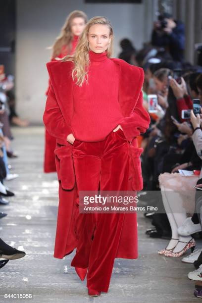Natasha Poly walks the runway at the Max Mara show during Milan Fashion Week Fall/Winter 2017/18 on February 23 2017 in Milan Italy