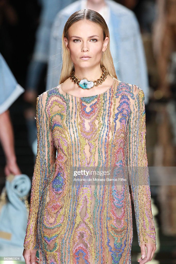 Natasha Poly walks the runway during the Balmain Menswear Spring/Summer 2017 show as part of Paris Fashion Week on June 25, 2016 in Paris, France.