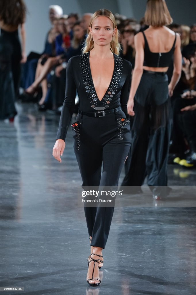 Natasha Poly walks the runway during the Mugler show as part of the Paris Fashion Week Womenswear Spring/Summer 2018 on September 30, 2017 in Paris, France.