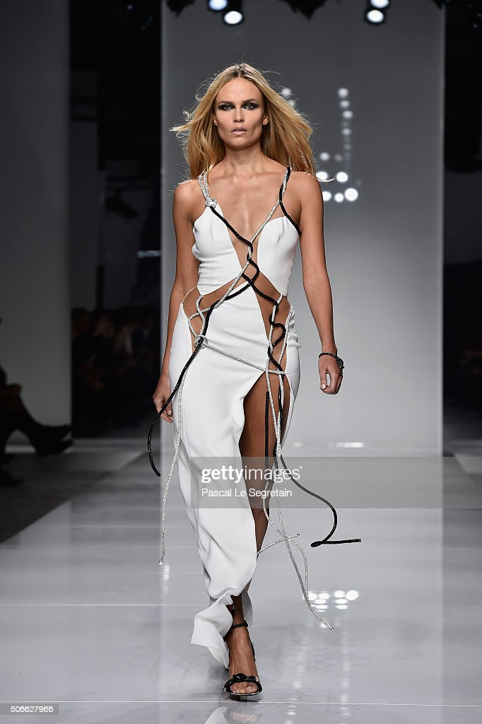 Natasha Poly walks the runway during the Versace Spring Summer 2016 show as part of Paris Fashion Week on January 24 2016 in Paris France