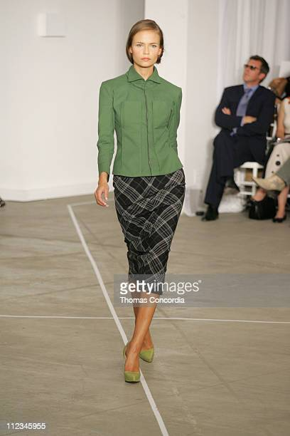 Natasha Poly wearing Roland Mouret Spring 2006 during Olympus Fashion Week Spring 2006 Roland Mouret Runway at To Be Determined in New York City New...
