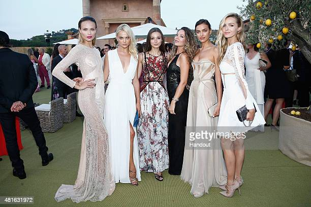 Natasha PolyEmily Senko Lara Leitoguest Irina Shayk attend a cocktail reception during The Leonardo DiCaprio Foundation 2nd Annual SaintTropez Gala...