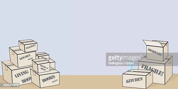 Natasha S Johnson color illustration of stacks of labeled moving boxes and a couple of opened ones with wine glasses set on top The Bellingham...