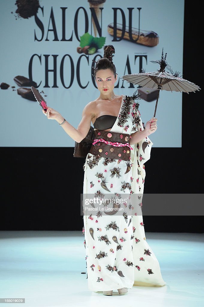 Natasha Saint Pier walks down the runway during the 18th Salon Du Chocolat at Parc des Expositions Porte de Versailles on October 30, 2012 in Paris, France.