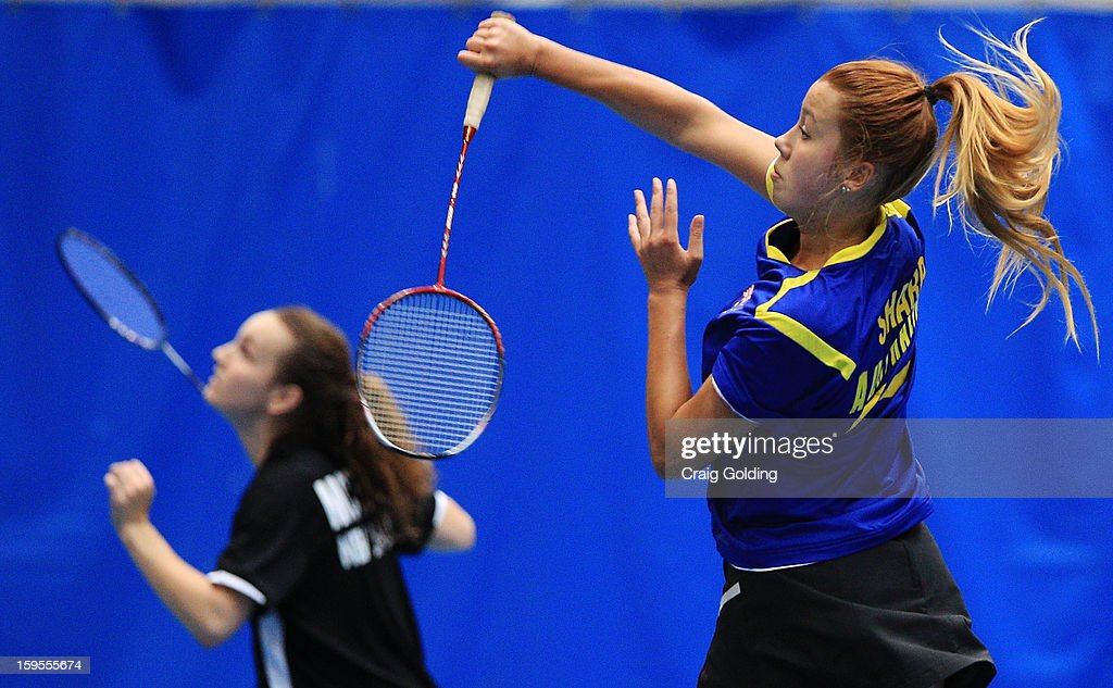 Natasha Sharp of Australia during the womens doubles badminton teams event on day one of the 2013 Australian Youth Olympic Festival in the Sports Halls at Sydney Olympic Park Sports Centre on January 16, 2013 in Sydney, Australia.