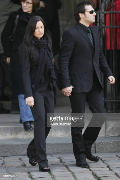 Natasha StPier and her husband attend singer Alain Bashung's Funeral on March 20 2009 in Paris France