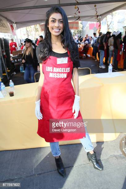 Natasha Wanigatunga is seen at the Los Angeles Mission Thanksgiving Meal for the homeless at the Los Angeles Mission on November 22 2017 in Los...