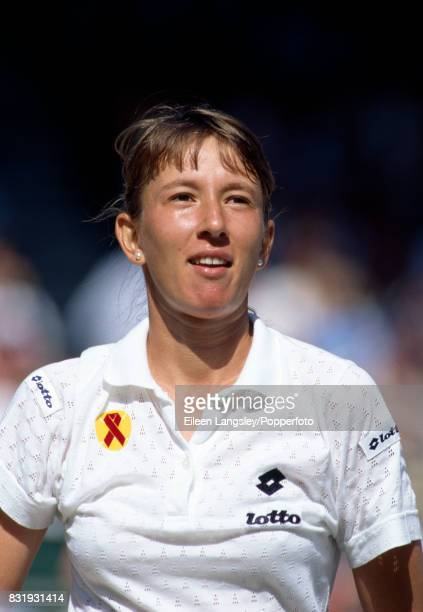 Natasha Zvereva of Belarus during a women's singlers match at the Wimbledon Lawn Tennis Championships in London circa July 1993 Zvereva was defeated...