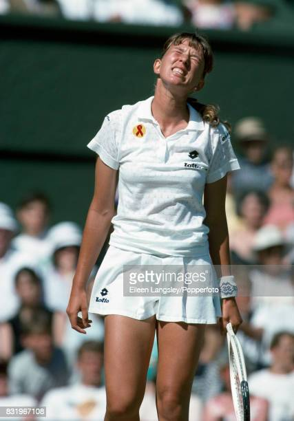 Natasha Zvereva of Belarus reacts during a women's singles match at the Wimbledon Lawn Tennis Championships in London circa July 1993 Zvereva was...