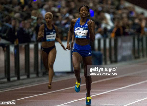 Natashat Hastings of The USA and Shaunae MillerUibo of Bahamas compete in the Women's 400 metres during the AG Insurance Memorial Van Damme as part...