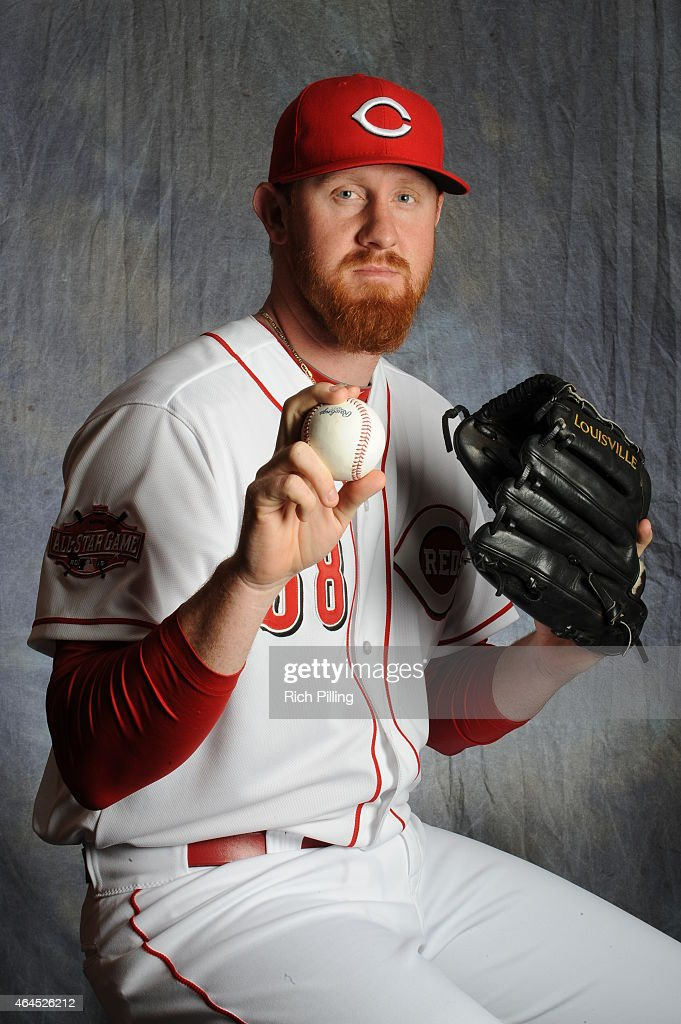 Nate Adcock #58 of the Cincinnati Reds poses for a portrait during Photo Day on February 26, 2015 at Goodyear Ballpark in Goodyear, Arizona.