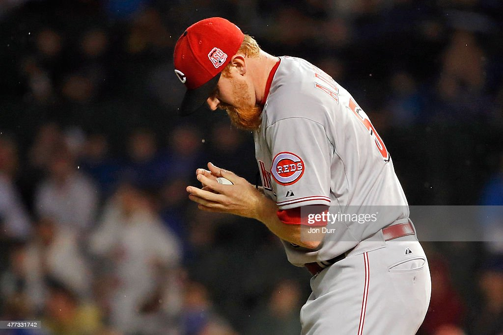 Nate Adcock #58 of the Cincinnati Reds reacts after giving up a double to Chris Coghlan #8 of the Chicago Cubs (not pictured) during the seventh inning at Wrigley Field on June 11, 2015 in Chicago, Illinois.