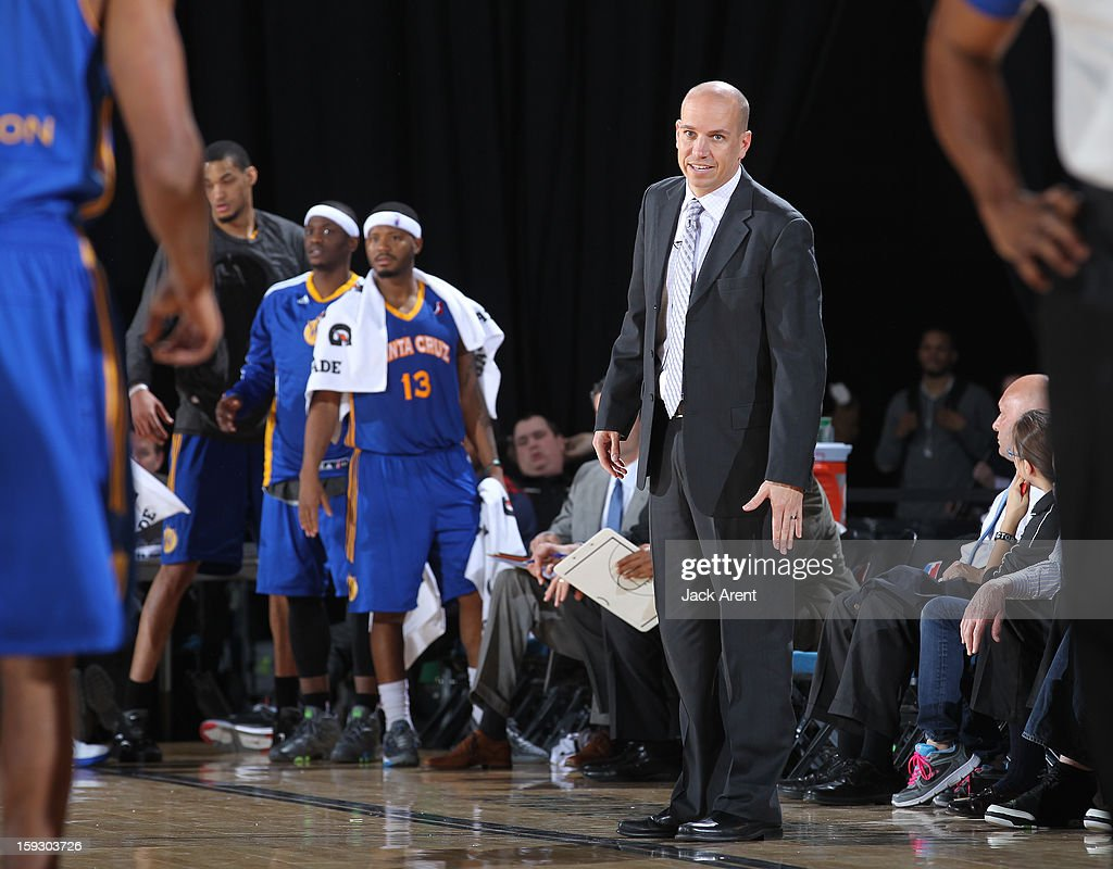 Nate Bjorken Head Coach of the Santa Cruz Warriors directs his team while playing against the Canton Charge during the 2013 NBA D-League Showcase on January 10, 2013 at the Reno Events Center in Reno, Nevada.