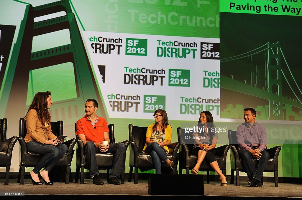 Nate Blecharczyk (Airbnb), Leah Busque (TaskRabbit), Brit Morin (brit.co) and John Zimmer (Lyft) speaks at the Tech:Crunch Disrupt SF 2012 Conference on September 10, 2012 in San Francisco, California.