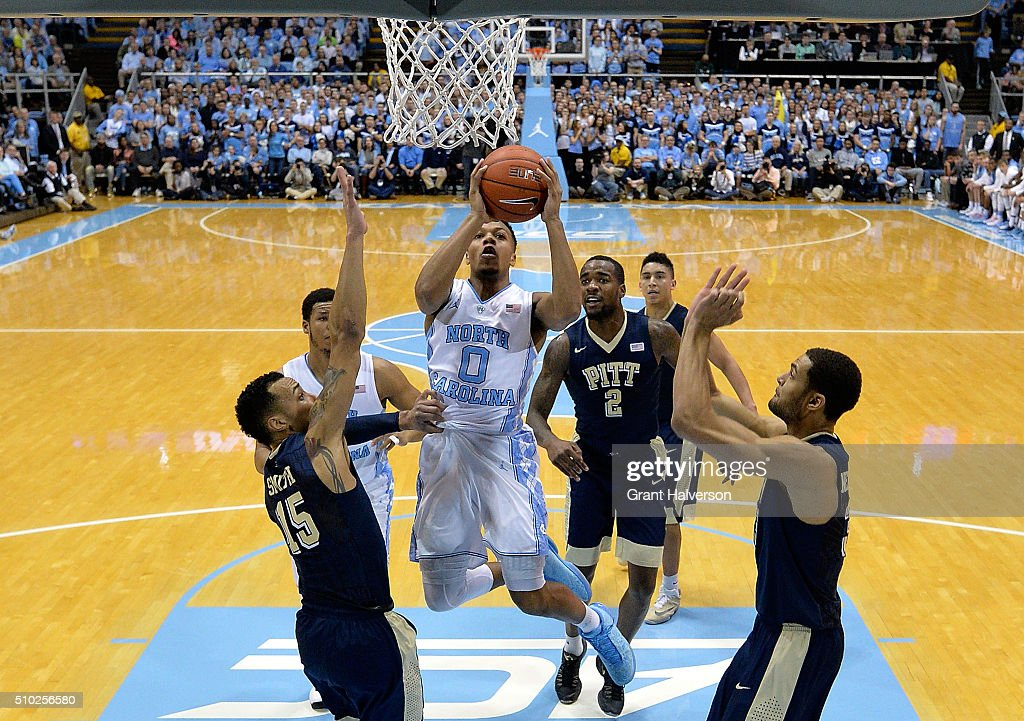 Nate Britt #0 of the North Carolina Tar Heels drives against Sterling Smith #15 of the Pittsburgh Panthers during their game at the Dean Smith Center on February 14, 2016 in Chapel Hill, North Carolina. North Carolina won 85-64.