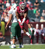 Nate D Smith of the Temple Owls reacts after a sack against the Tulane Green Wave on October 10 2015 atLincoln Financial field in Philadelphia...