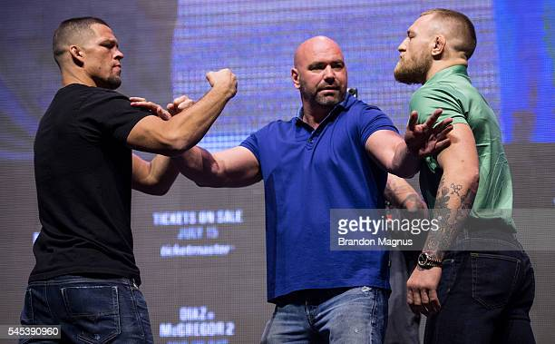 Nate Diaz and Conor McGregor face off during the UFC 202 Press Conference at TMobile Arena on July 7 2016 in Las Vegas Nevada