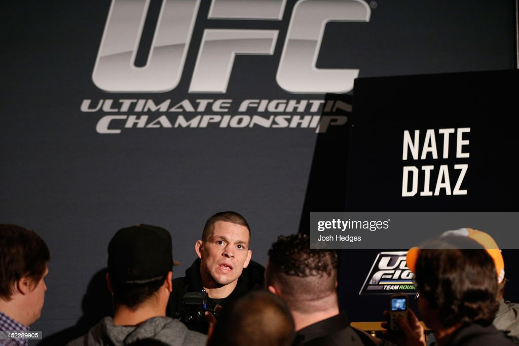 Nate Diaz interacts with media during media day ahead of The Ultimate Fighter season 18 live finale inside the Mandalay Bay Events Center on November 27, 2013 in Las Vegas, Nevada.