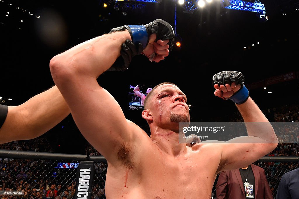 Nate Diaz reacts to his victory over Conor McGregor of Ireland in their welterweight bout during the UFC 196 event inside MGM Grand Garden Arena on March 5, 2016 in Las Vegas, Nevada.