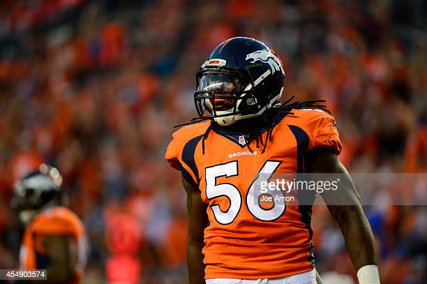 Nate Irving of the Denver Broncos celebrates a sack in the second quarter The Denver Broncos played the Indianapolis Colts at Sports Authority Field...