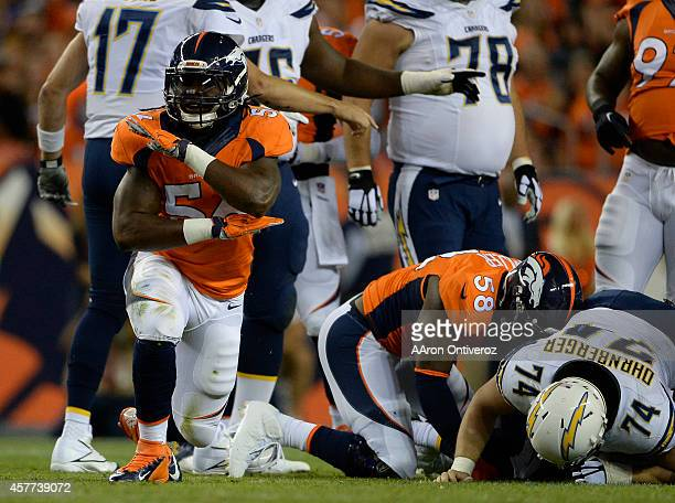 Nate Irving of the Denver Broncos celebrates a stop in the first quarter The Denver Broncos played the San Diego Chargers at Sports Authority Field...